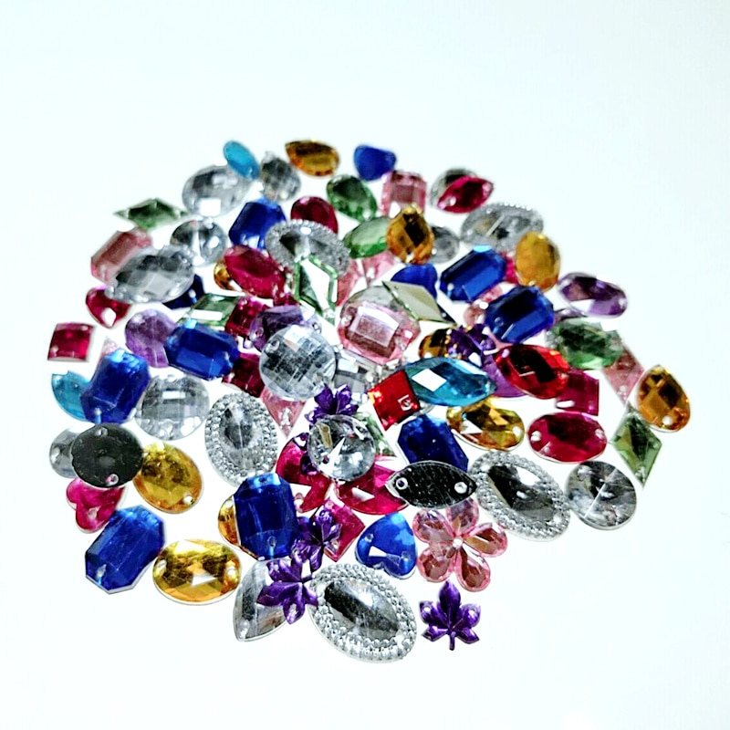 HL 100PCS/package Lots Mixed Size Shape Loose Sew-on Rhinestones Apparel Bags Shoes Sewing Accessories DIY Crafts
