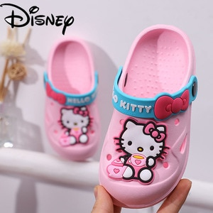 Size 15-20cm Disney Baby Casual Shoes Girls Hello Kitty Sandals Non-slip Light Kids Toddler Shoes Baotou Children's Hole Shoes