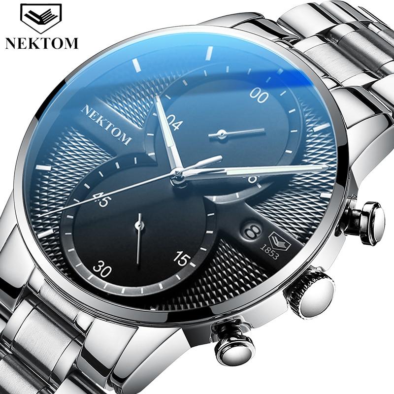 Reloj de cuarzo NEKTOM de lujo para hombre, reloj deportivo a la moda militar resistente al agua con cronógrafo Saat Relogio Masculino