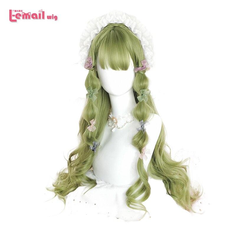 L-email peluca verde Lolita pelucas largas onduladas góticas pelucas Cosplay con flequillo japonés Halloween pelo sintético resistente al calor
