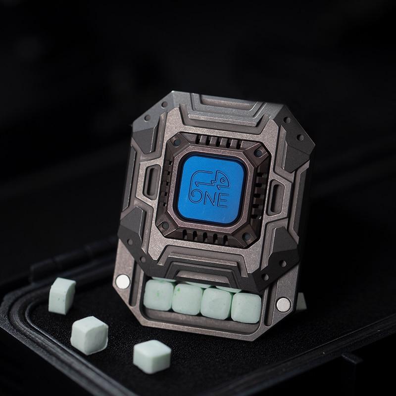 ONE Haptic Coin Titanium Alloy Copper Sugar Box Metal Decompression EDC Storage Box Toy