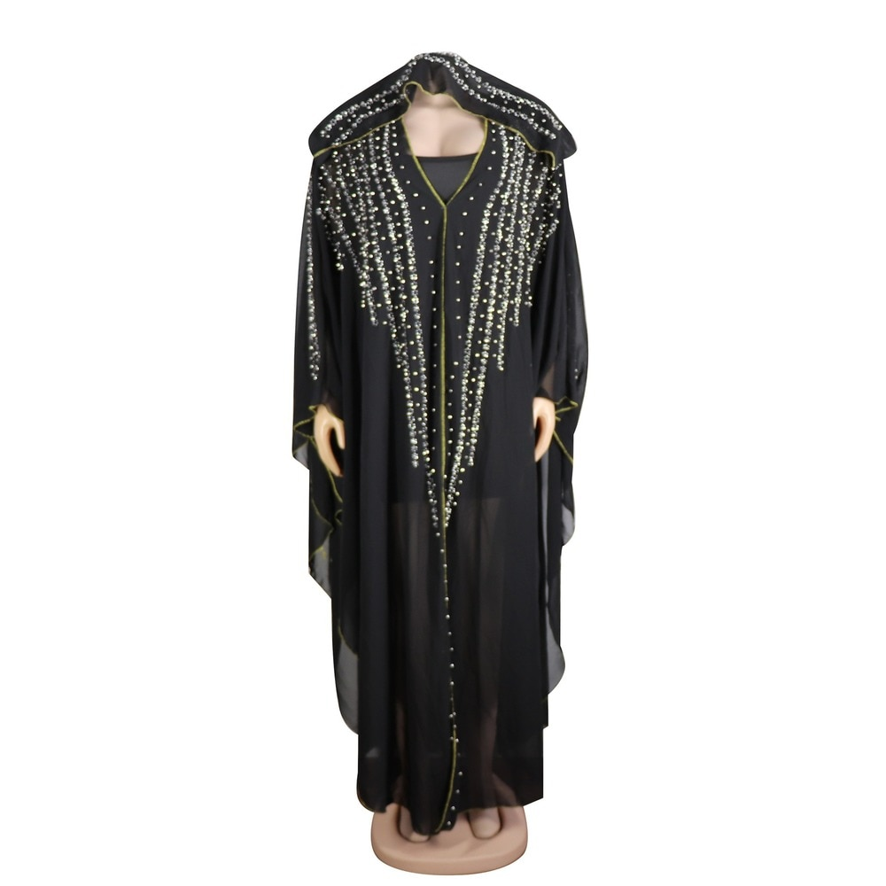 Africano roupas muçulmano islâmico vestido feminino chiffon diamante com capuz abaya ramadan hijab paquistanês vestidos marroquino kaftan burqa