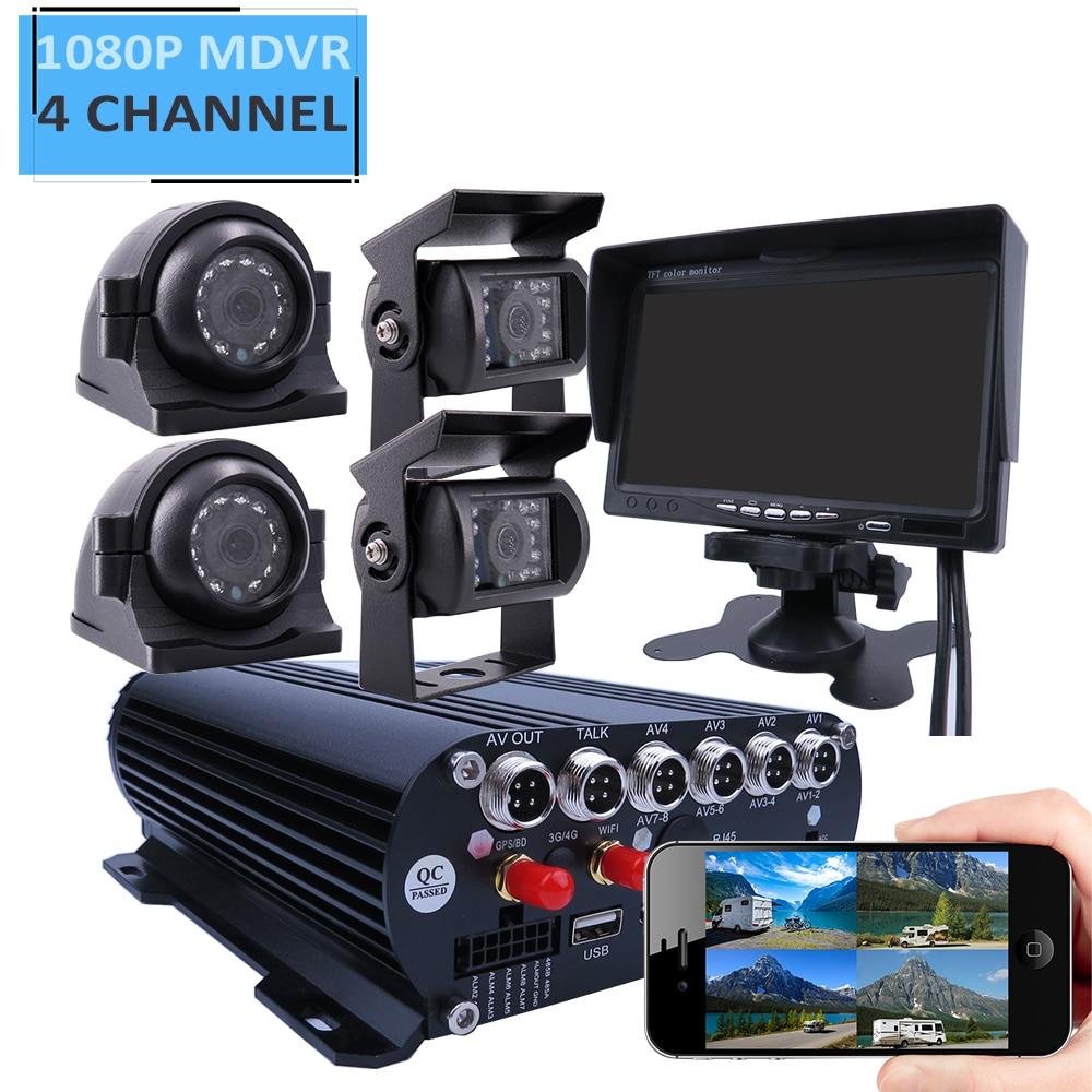Caméra arrière latérale avant pour camion   4CH GPS, 1080P 3 to HDD, véhicule Mobile voiture DVR, système vision à distance sur le téléphone SONY IP69