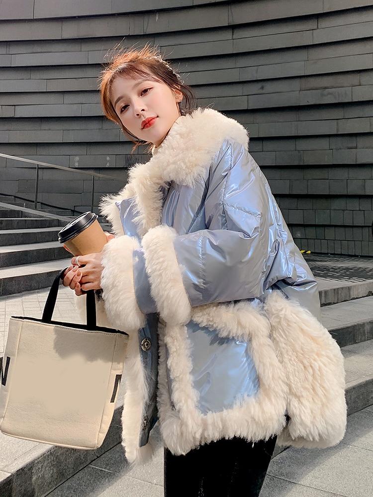 Down Parka Lamb Wool Splicing Bright Cotton Jacket Women's Short Jacket 2021 Winter New Korean Loose