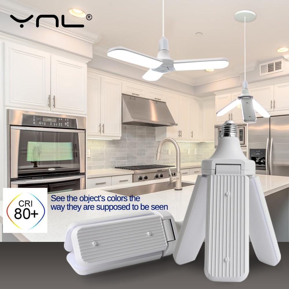 Lampe à Led 60W 45W 30W créatif ventilateur de plafond Lampada Garage lumière Led ampoule AC220V pliable ventilateur lame Angle réglable pli Led ampoule
