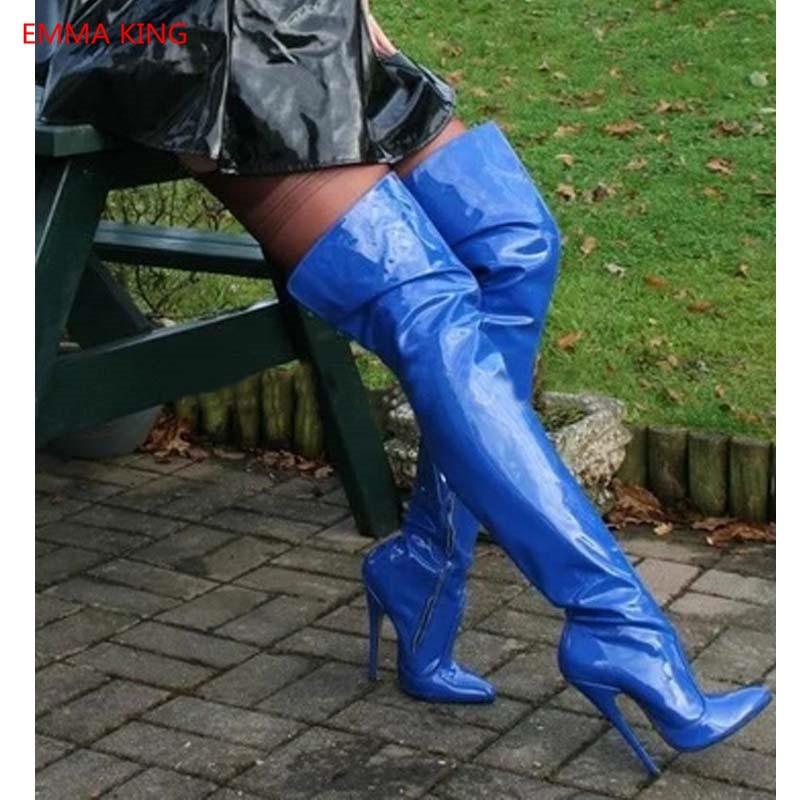 Новые модные синие сапоги выше колена женские зимние сапоги до бедра из лакированной кожи на высоком каблуке вечерние высокие сапоги с остр...