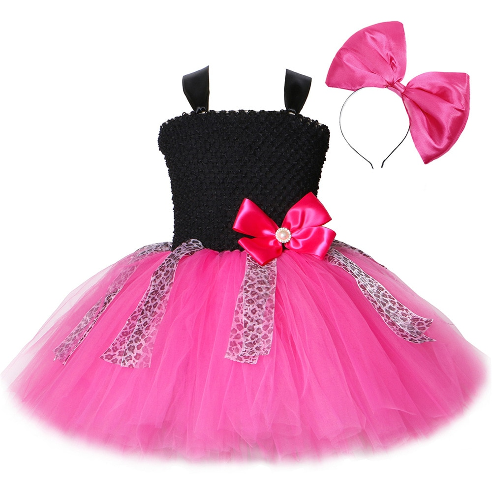 kids clothes girls 2 to 9 years tulle tutu princess pink flower dresses girl bow ribbon for party wedding dress free shipping Flower Girls Tutu Dress Bow Leopard Cute Tulle Princess Birthday Party Dress Girl Kids Carnival Halloween Dolls Cosplay Costumes