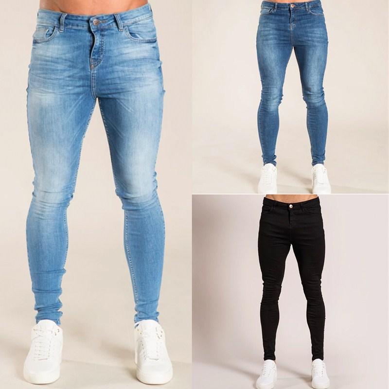 2020 классический Стиль мужские фирменные джинсы бизнес повседневное стрейч зауженные джинсы джинсовые брюки светильник синий черные брюки ...