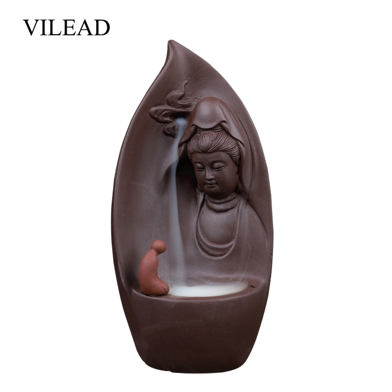Vilead 19cm cerâmica zen budismo refluxo queimador de incenso estatuetas criativo blackflow incenso titular artesanato decoração casa presentes hogar