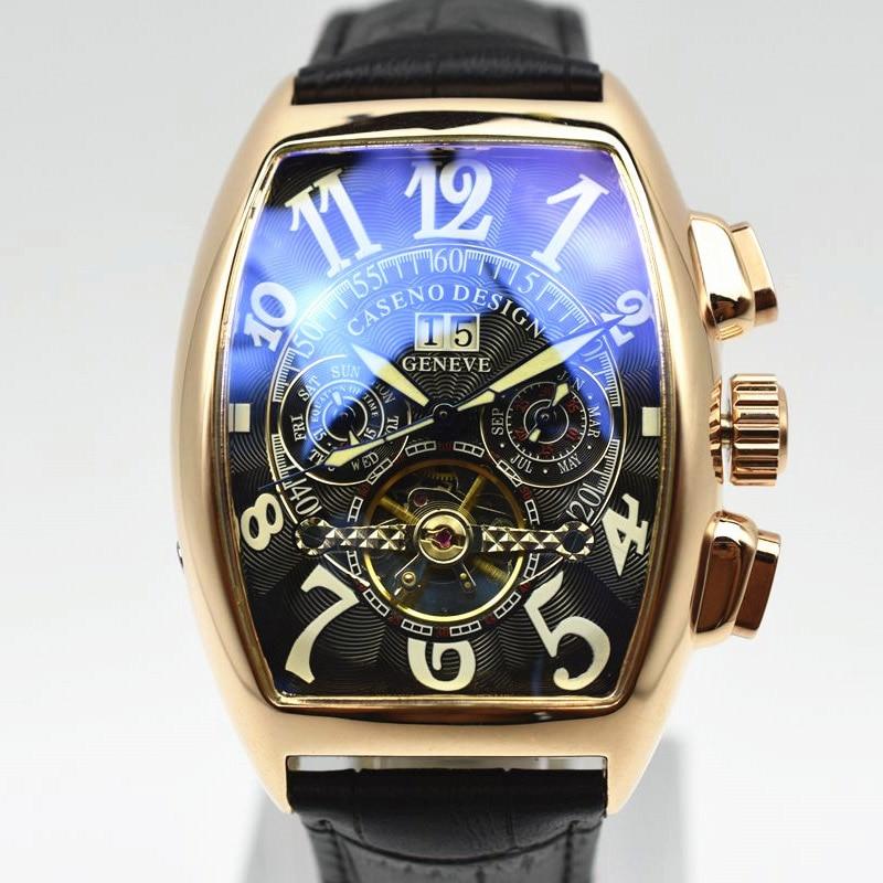 Reloj Tourbillon clásico hombres mecánico automático reloj de los hombres de moda esqueleto reloj de pulsera de cuero para hombre de marca de relojes de lujo