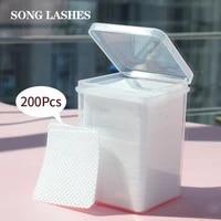200pcs eyelash glue remover cotton wipes uv gel nail tips polish remover cleaner lint free paper pad eyelash make up tools