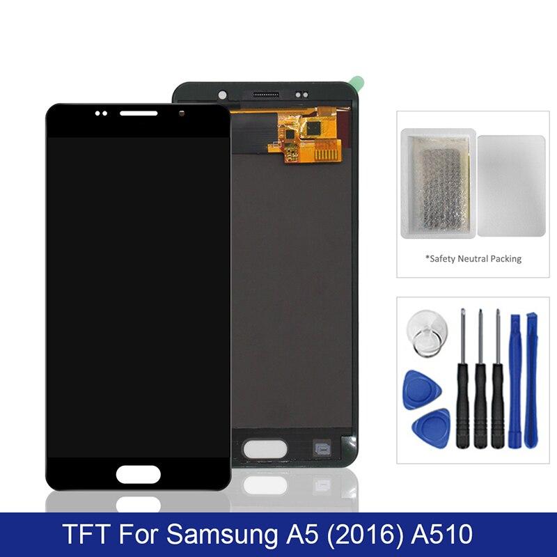 لسامسونج غالاكسي A5 2016 LCD عرض تعمل باللمس محول الأرقام الجمعية TFT على SM A510F A 5 2016 510F Sm-A510F 100% اختبار