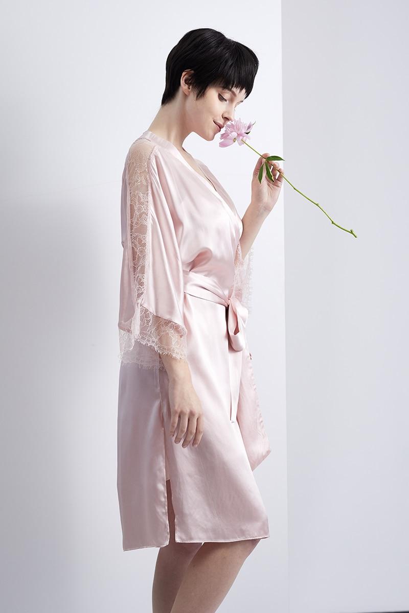 DISANGNI 100% قميص نوم طويل من الحرير التوت