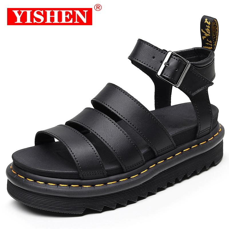 YISHEN 2021 Summer Martens Shoes Woman Flats Platform Sandals Women Soft Leather Casual Open Toe Thi