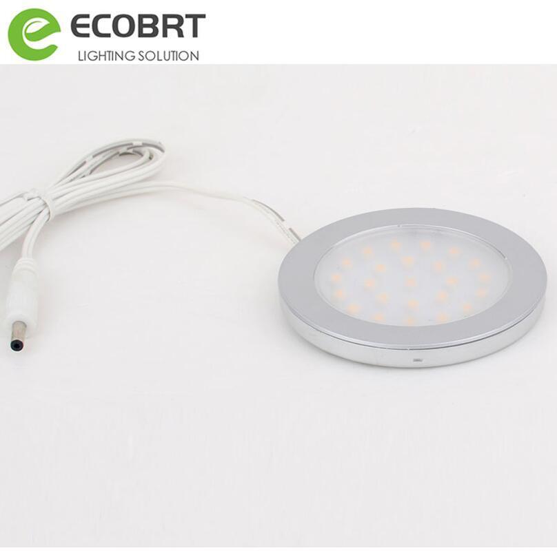 ECOBRT 12v Mini Led Under Cabinet Lights Lamps Aluminum Kitchen Light DC9.5-30v 2w led lamps Battery operated 2pcs/lot
