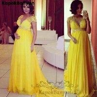yellow illusion scoop neck short sleeves zipper long a line chiffon prom dress with rhinestones belt