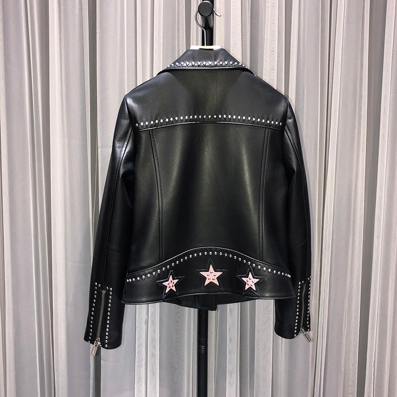 Natural Leather Women Lambskin Leather Bomber Biker Jacket Long Sleeves 100% Sheepskin Leather Coat H721