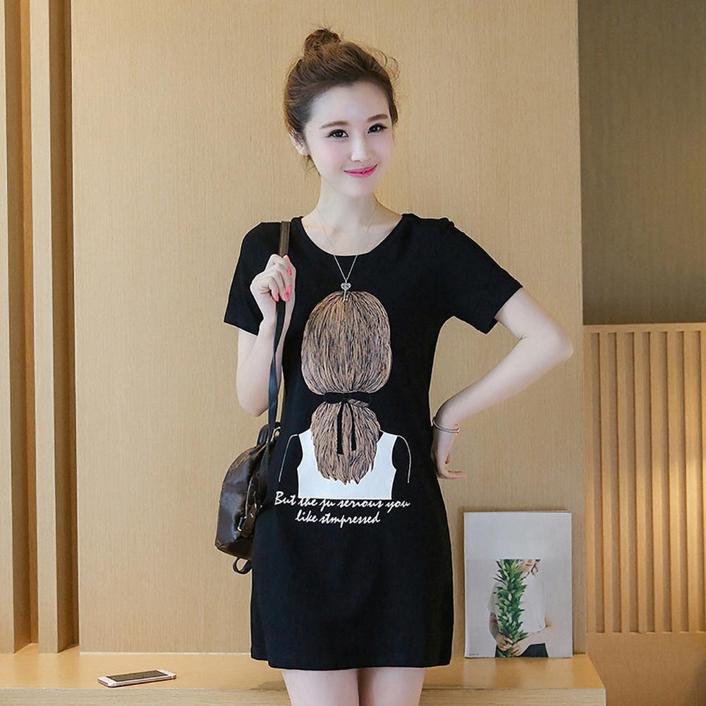 Casual Women Dress Breathable Short Sleeve Round Neck Long T-shirt Blouse Mini Dress женское платье vestido de mujer 2020