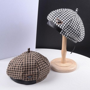 Autumn Winter Plaid Beret Caps for Women French Berets Retro Fashion Female Houndstooth Berets with Adjustable Rope Painter Hat