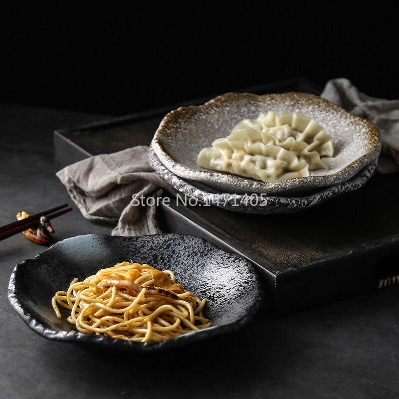 أدوات مائدة عتيقة من الخزف الحجري ، للمطاعم اليابانية ، طبق خزفي إبداعي ، للمنزل ، سوم خافت ، بارد ، للوجبات الخفيفة