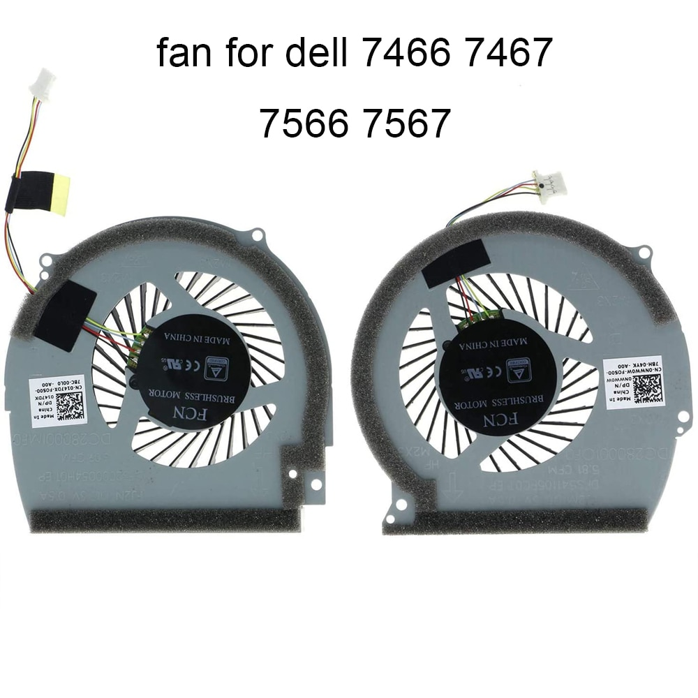 CPU Cooling Computer Fans for Dell Inspiron 14 7466 7467 15 7566 7567 0NWW0W 0147DX notebook PC GPU Graphics card Cooler fan New