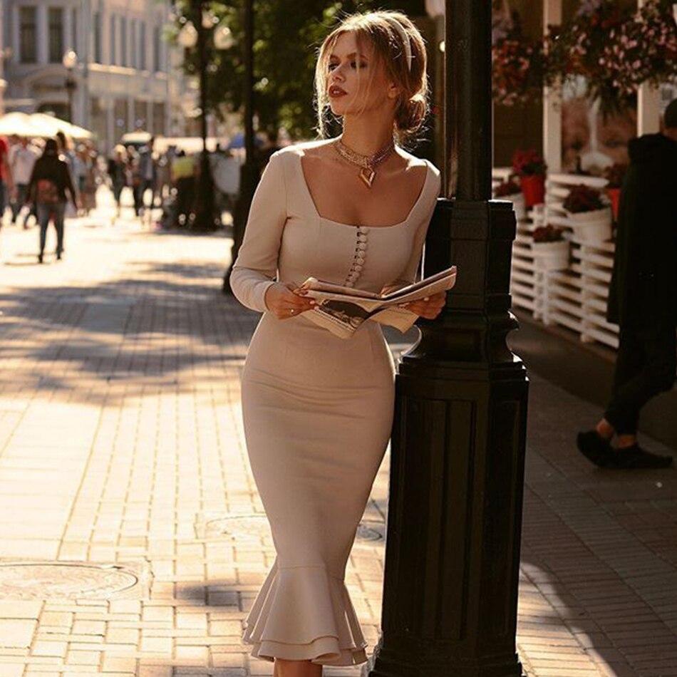 Adyce فستان جديد لخريف 2021 بمشمش للنساء فستان مثير بحورية البحر بأكمام طويلة للنادي فساتين حفلات للمشاهير