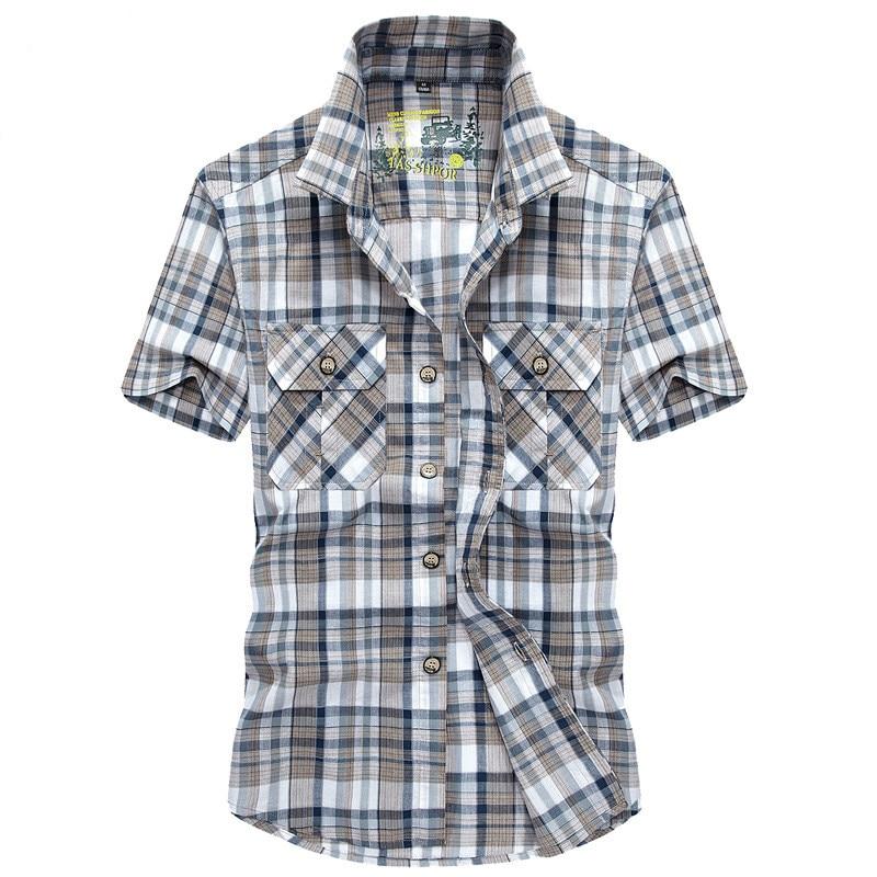 Мужская хлопковая рубашка в клетку, Повседневная рубашка в стиле милитари с отложным воротником и короткими рукавами, лето 2020
