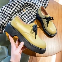 large size 43 womens thick soled british style leather shoes lace up leather low heel casual shoes ladies oxford shoes