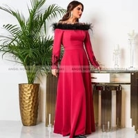 angel novias long sleeves arabic evening dress 2021 with feather off the shoulder caftan arabic prom gowns party dresses