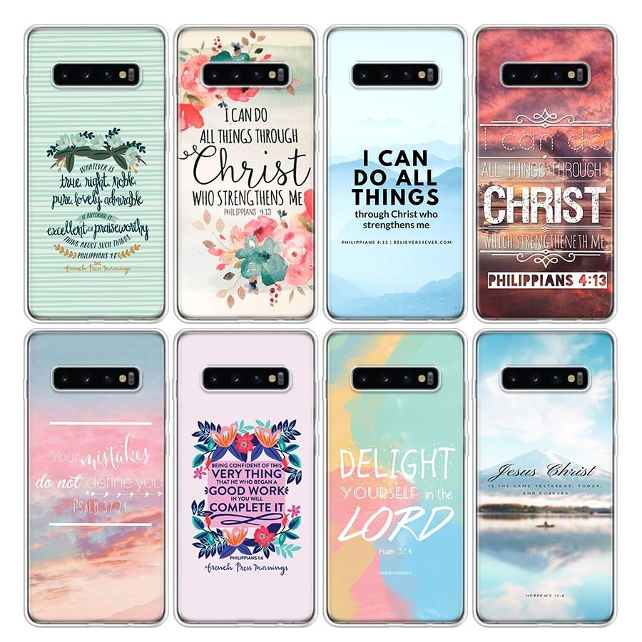Bible verse Philippians Jesus Christ Christian Phone Case For Samsung Galaxy S20 Ultra S10E Note 10 9 8 S9 S8 J4 J6 J8 Plus + Li
