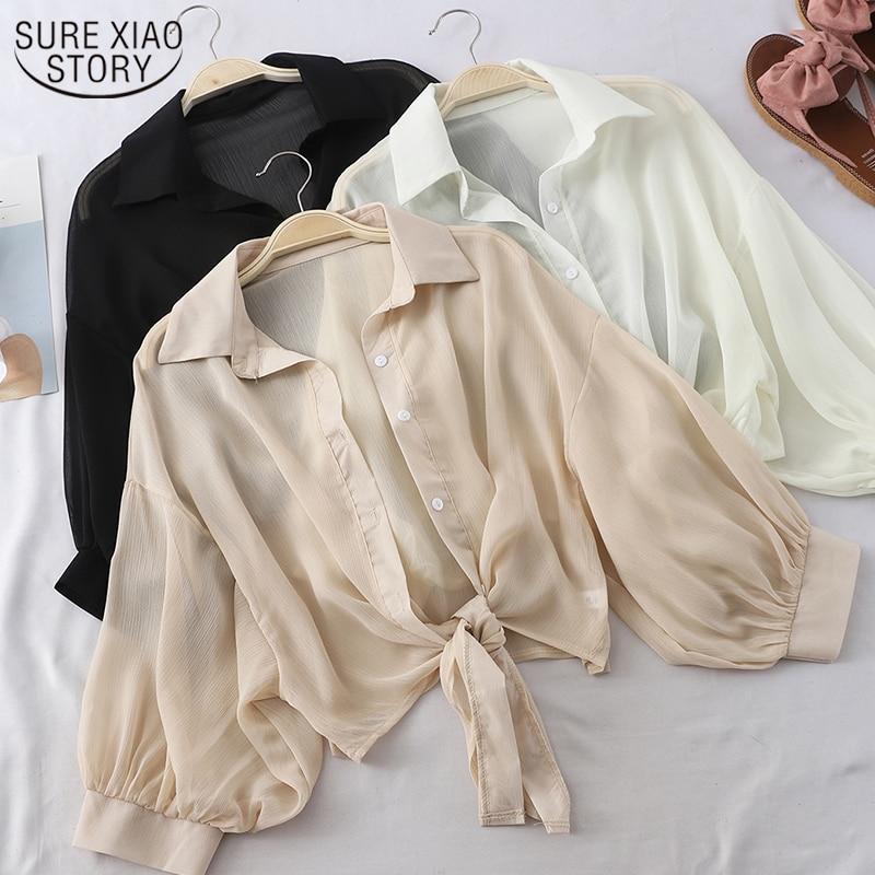 aliexpress - New 2021 Summer Half Sleeve Buttoned Up Shirt Loose Casual Blouse Chiffon Shirts Women Tied Waist Elegant Blouses for Women