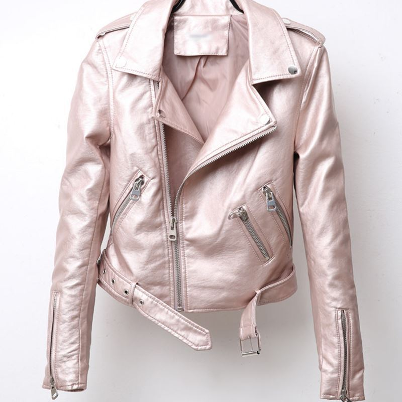 Women Metal Bright Leather Jacket 2021 Spring Autumn Motorcycle Short Pu Leather Zippers Jacket Lady's Slim Leather Coat Outwear enlarge