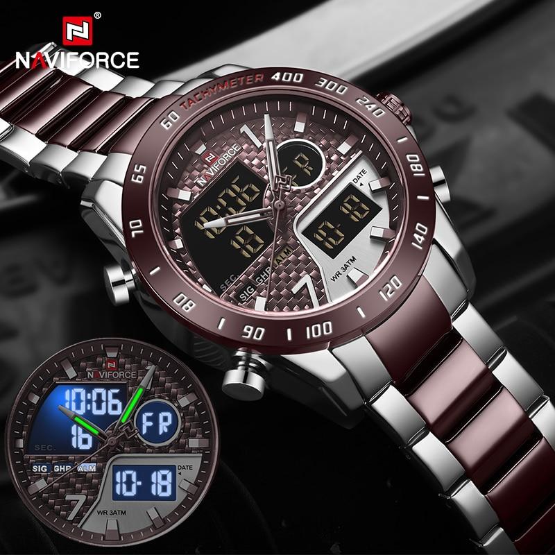 NAVIFORCE Men Digital Watch LED Sport Military Mens Quartz Wristwatch Male Luminous Waterproof Clock Watches Relogio Masculino