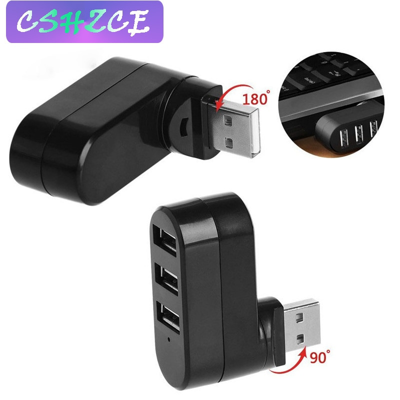 180 grado, Mini Hub USB 2,0 de 3 puertos Hub de alta...