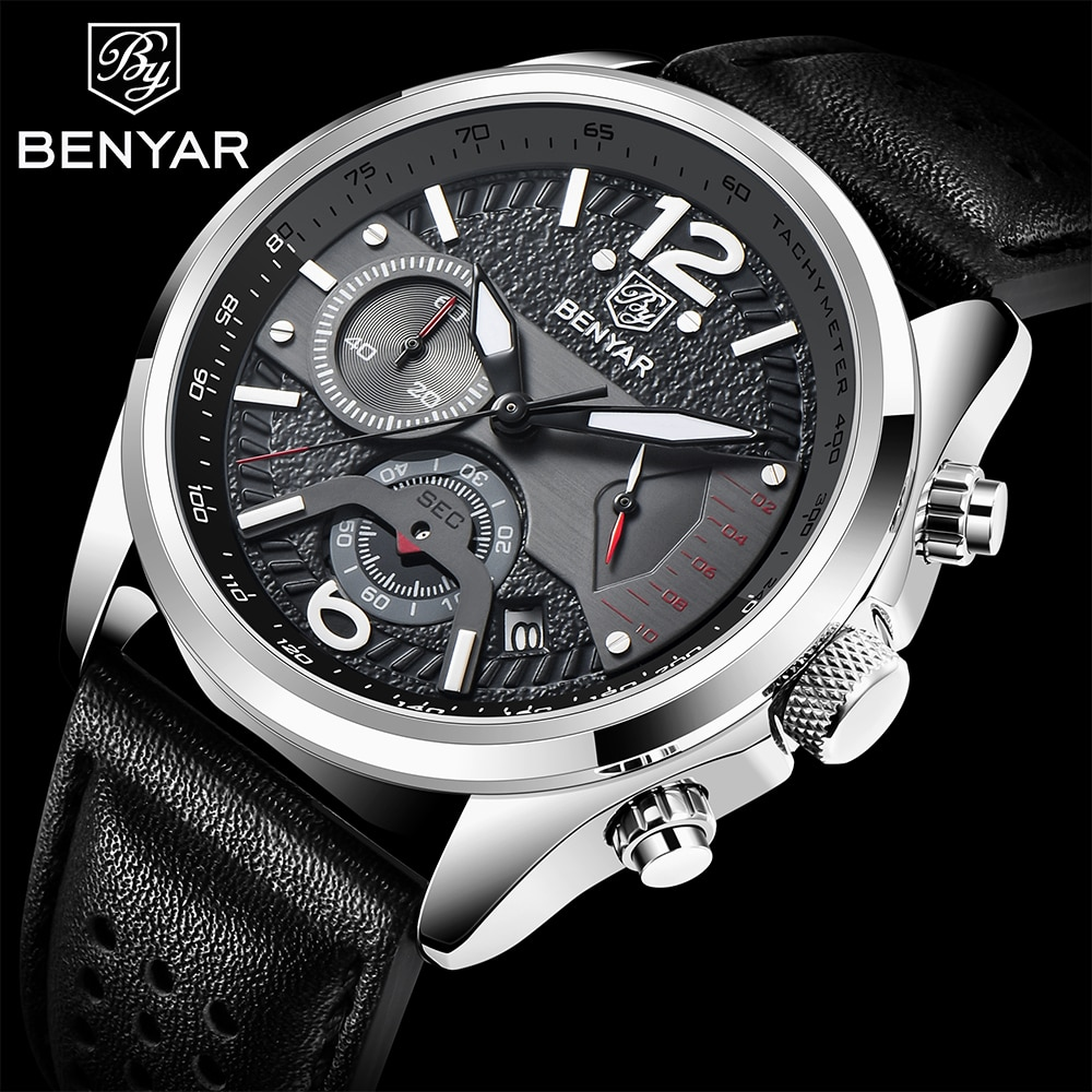 BENYAR-ساعة يد كوارتز فاخرة للرجال ، رياضية ، مقاومة للماء ، كرونوغراف ، عسكرية ، جلد ، مجموعة جديدة 2021