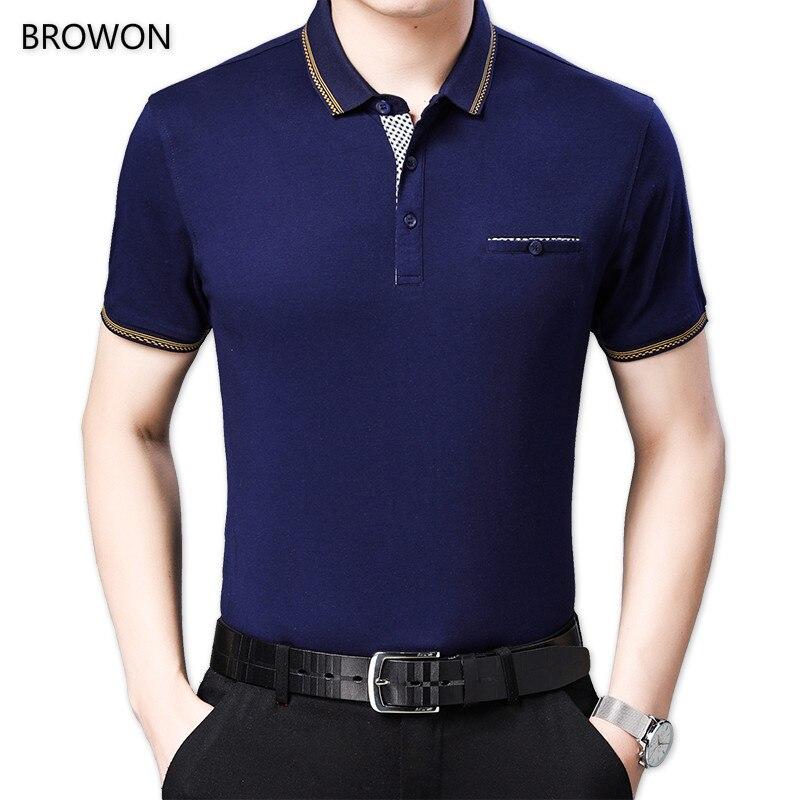 BROWON, camisetas de verano para hombre, camiseta de manga corta con cuello vuelto, Camiseta ajustada de negocios, camiseta Social de Color liso