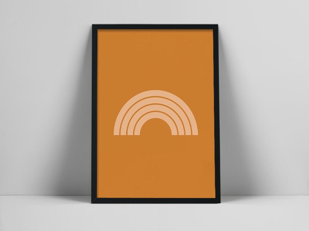 Impresión artística de arcoíris naranja | Arte de pared escandinavo | Cartel...
