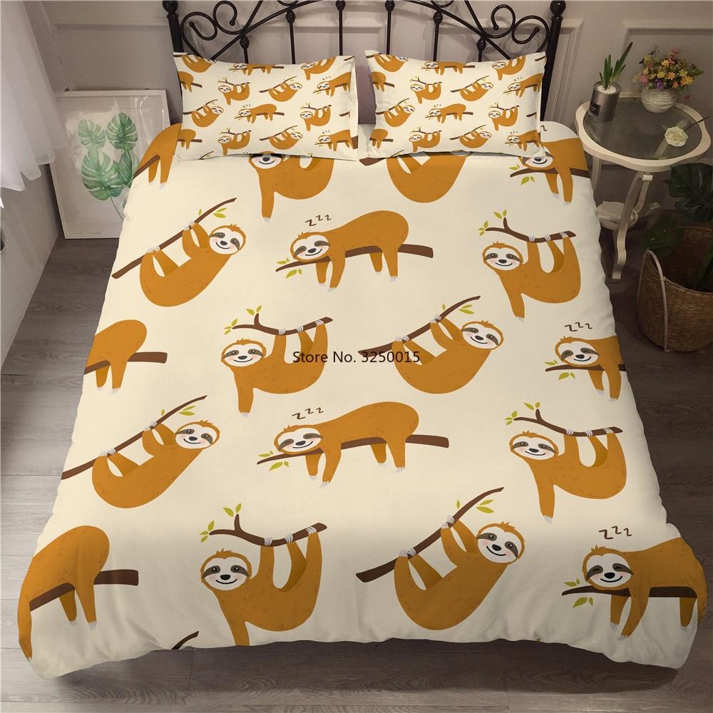 المنسوجات المنزلية 3D-priting طقم سرير الكرتون جميل سلوث الملكة طقم فرش أسرة كينج سايز طقم سرير الأطفال حاف الغطاء أكياسها طقم سرير