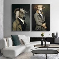 nordic retro goat canvas art posters and prints earl of the goat canvas paintings on the wall art picture wall decoration cuadro