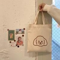 cute pattern women canvas reusable shopping bags fashion girls student small casual tote simple thin cotton ladies mini handbags