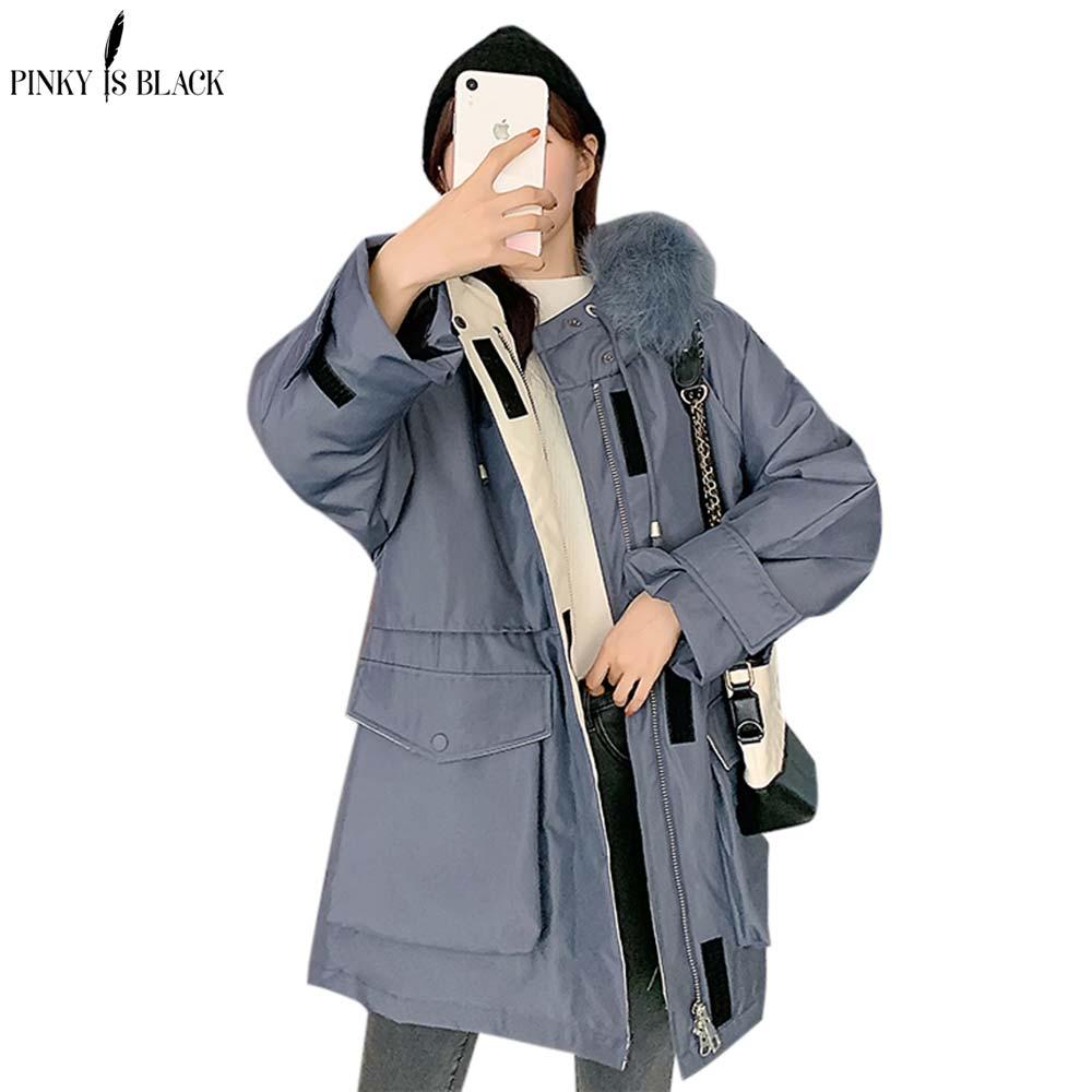 PinkyIsBlack Длинные парки, новинка 2020, осенне-зимние куртки в стиле милитари, женские пальто, Толстая теплая зимняя куртка с большим мехом и капюш...