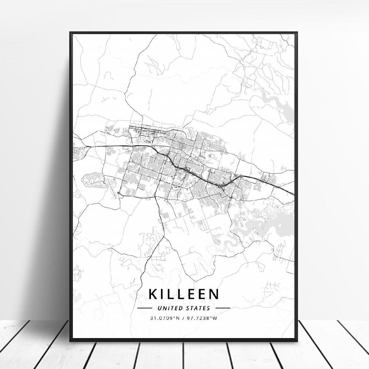 Killeen-Póster de arte en lienzo con mapa de los Estados Unidos, triangulación...