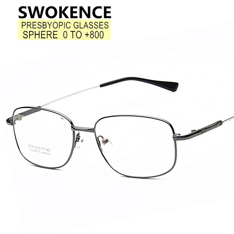 SWOKENCE SPH 0 to +8.0 Reading Glasses Filling Prescription Men Women Memory Half Frame Customized P