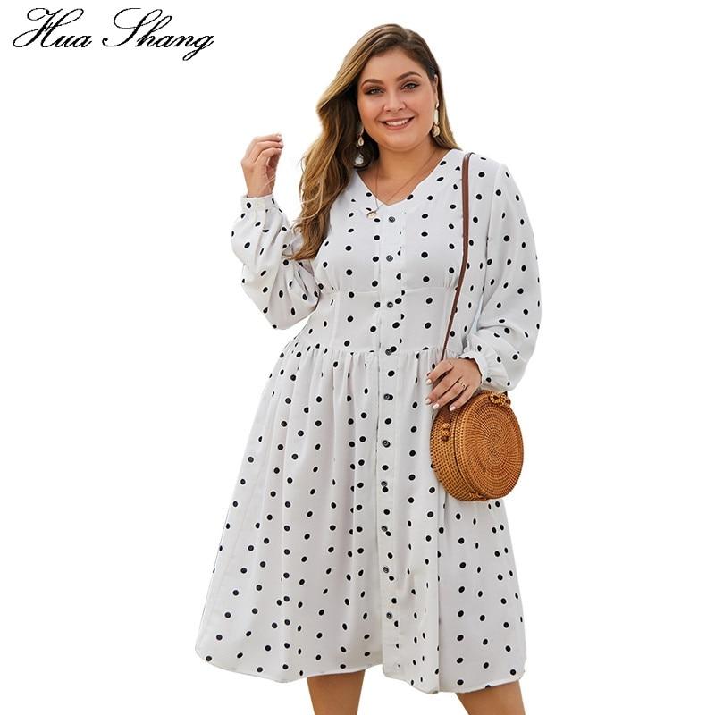 Vestido estampado de lunares talla grande mujer 2019 moda Primavera otoño V cuello manga larga camisa Vestido Mujer túnica Maxi vestidos largos