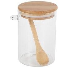 Récipient de bidon scellé clair de pot en verre de stockage de FashionFood avec le couvercle et la cuillère pour la conservation de grain de café de sucre de sel de thé en vrac