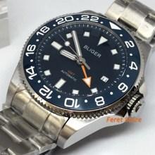Bliger 43mm Top Luxus Mechanische Uhr Silber Fall Sapphire Glas blau Keramik Lünette Luminous männer GMT Automatische Uhr
