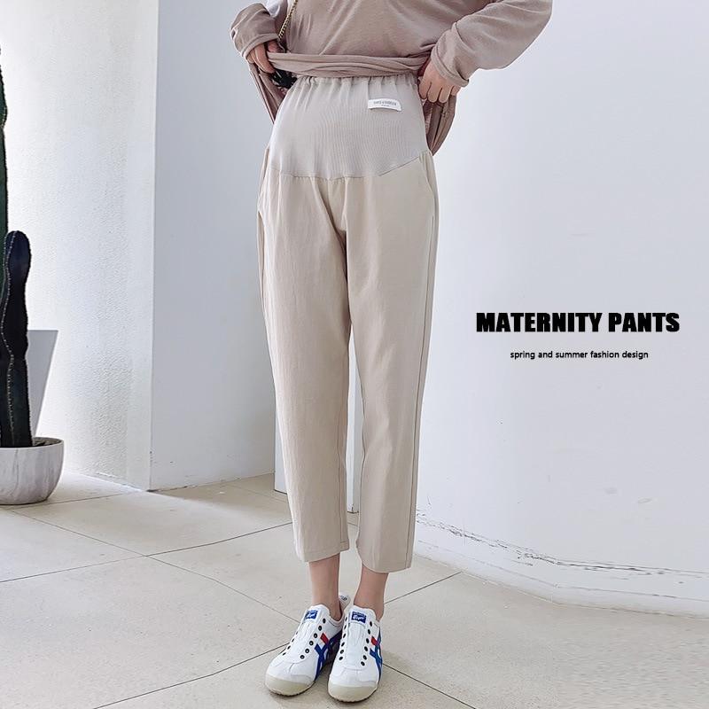 Ankle-length Pants For Pregnant Woman Loose Abdomen Adjustable Extension Strap Pregnancy Clothes Commuter Slacks