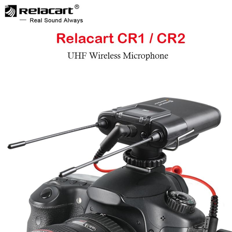 Relacart CR1 CR2 مكبر صوت لا سلكي ذو تردد فوق العالي نظام مزدوج قناة فيديو مقابلة تسجيل ميكروفون ميك للهواتف الذكية كاميرات DSLR