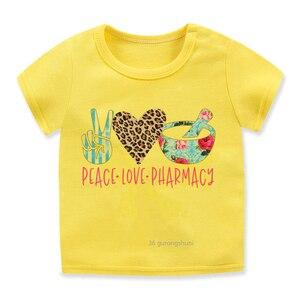 Детская футболка с графическим принтом Love Peace, летняя футболка для мальчиков и девочек в стиле Харадзюку, милые желтые и розовые топы для девочек