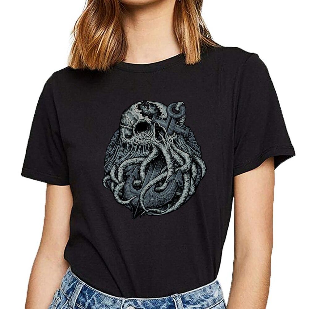 Tops camiseta mujer cthulhu vs ancla octopu Hip Hop Vintage algodón camiseta femenina